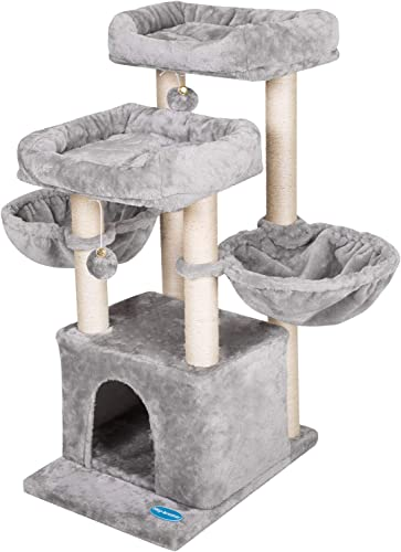 discount Hey-brother Multi-Level Cat Tree Condo Furniture 2021 with Sisal-Covered new arrival Scratching Posts for Kittens, Cats and Pets online sale