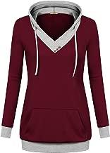 Miusey Womens Long Sleeve Color Block Lightweight Pullover Sweatshirt Hoodies