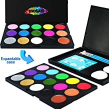 Non-Grease Face Painting Kit 15 Colors with 2 Metallic Gold and Silver, 3 Brushes, 30 Stencils, 2 Sponges - Professional Face Paint for Sensitive Skin, Halloween Makeup, Facepaints Party, Kids Safe