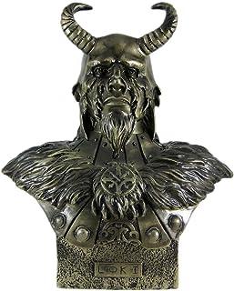 PTC 11 Inch Loki Armored God with Horns Head and Bust Statue Figurine