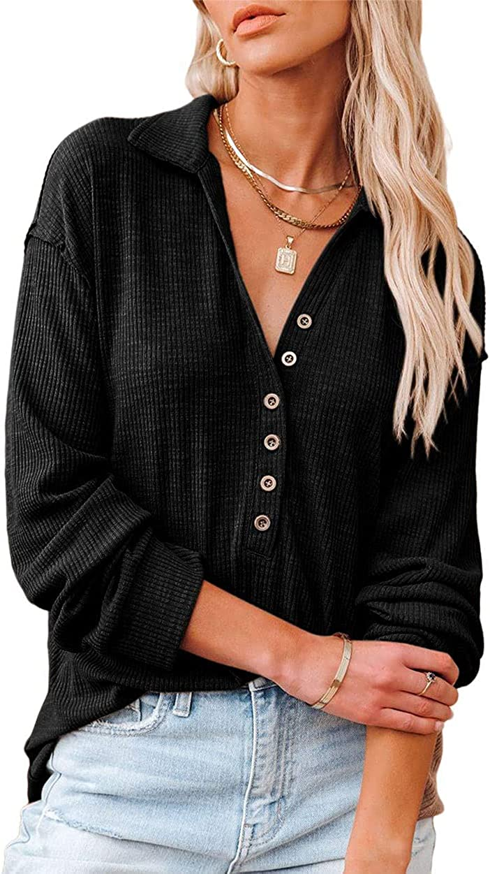 chouyatou Women's V Neck Long Sleeves Ribbed Knitted Button Down Polo Shirts Tees Tops