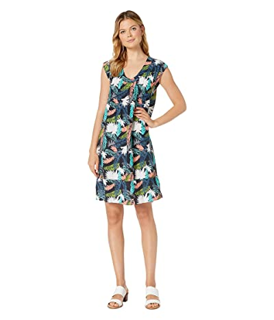 Mod-o-doc Tropical Palms Pintuck Front Shift Dress (Navy) Women