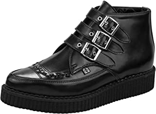 T.U.K. Shoes A8503 Unisex-Adult Boots, 3-Buckle Pointed Creeper Boots, Black - US: Mens 9 / Women 11