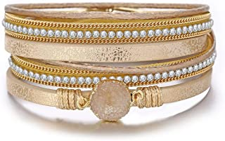 FINETOO Champagne Multi-Layer Leather Bracelet - Alloy Magnetic Clasp Handmade Braided Wrap Bracelets for Women Mother Birthday Gift