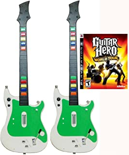 Playstation 3 PS3 2x Wireless Guitar Controllers + Guitar Hero World Tour Video Game kit bundle set GH rock music band