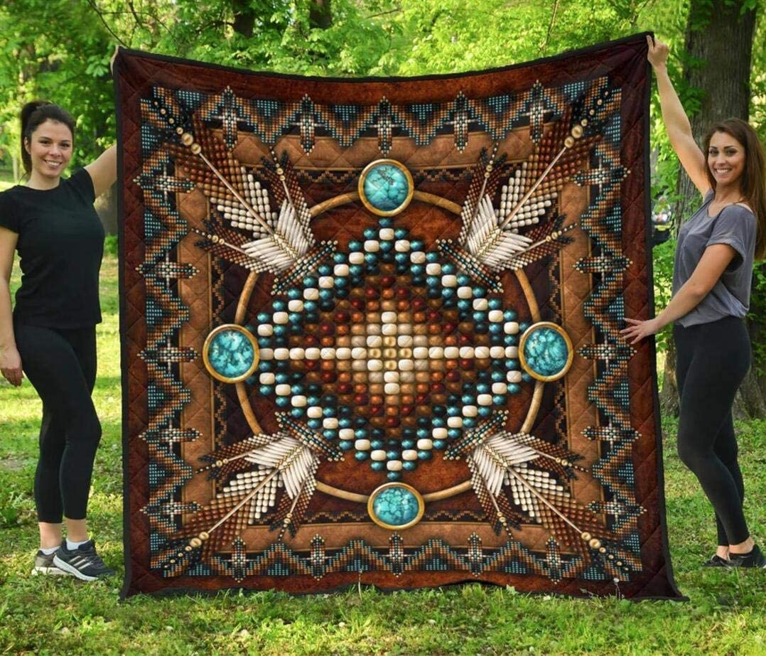 Personalized Mandala OFFer Brown Native American Twin King Queen Quilt mart