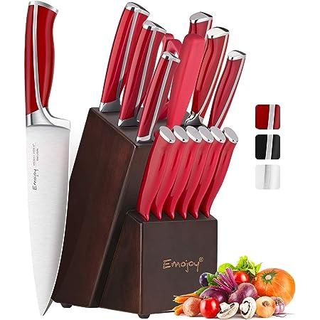 Emojoy Ensemble de Couteaux, Bloc Couteau de Cuisines, 15 pièces Set Couteaux Professionnels, Couteaux Acier Inoxydable Allemand avec Support en Bois (Rouge)