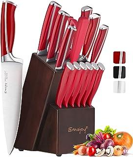 Emojoy Ensemble de Couteaux, Bloc Couteau de Cuisines, 15 pièces Set Couteaux Professionnels, Couteaux Acier Inoxydable Al...