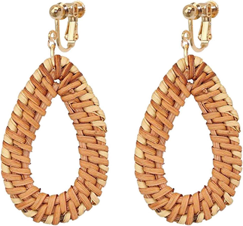 Non Pierced Rattan Clip On Earrings For Girls Women Lightweight Geometric Statement Oval Teardrop Dangle Bohemian Handmade Woven Straw Wicker Braid Hoop Drop Vacation Ears Jewelry
