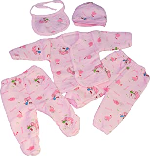 GRAPPLE DEALS Baby's Winter Wear Warm Cotton 5 Pcs Gift Set 0 to 4 Month. (Any Print - 1 Set)