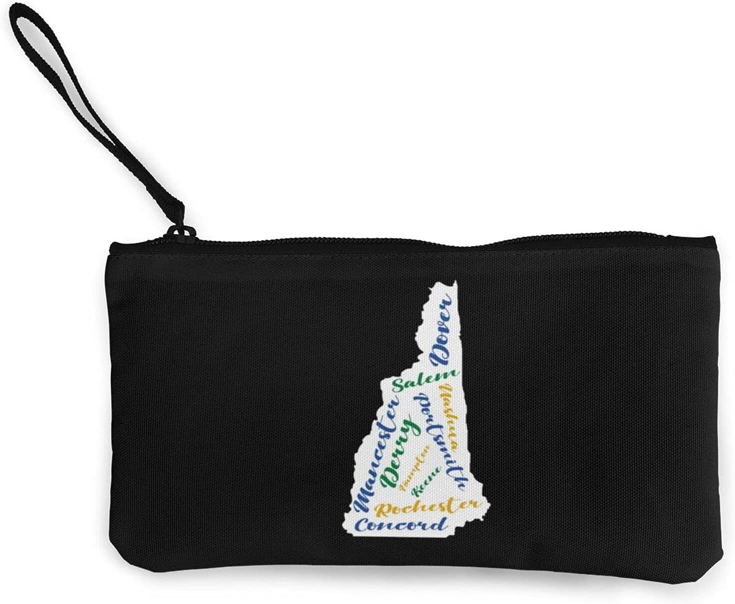 New Hampshire Cities Word Art Multifunction Travel Toiletry Pouch Small Canvas Coin Wallet Bag Zipper