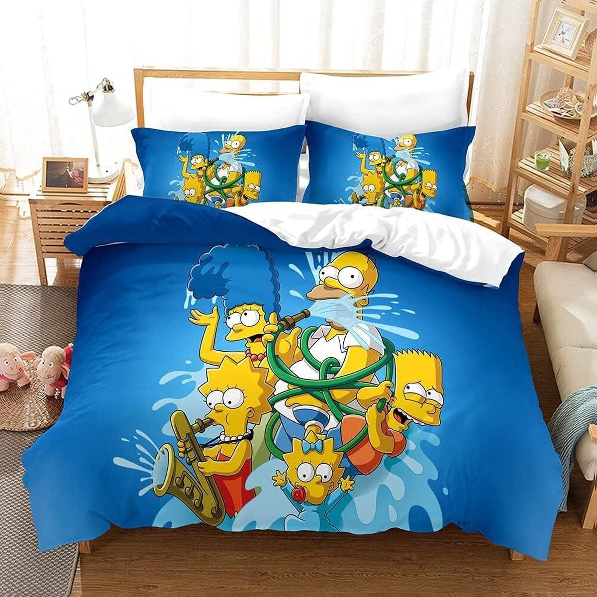 KMTSYD Simpson - Juego de ropa de cama infantil, diseño de Simpson, funda de edredón, impresión digital 3D, fácil de limpiar (6,200 x 200 cm + 50 x 75 cm x 2)