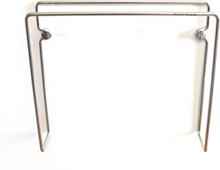 Plew Plew - Magazine Holder Rack, Stainless Steel, Wall Mounted (7.1 L x 6.3 H x 1.6 D inches)