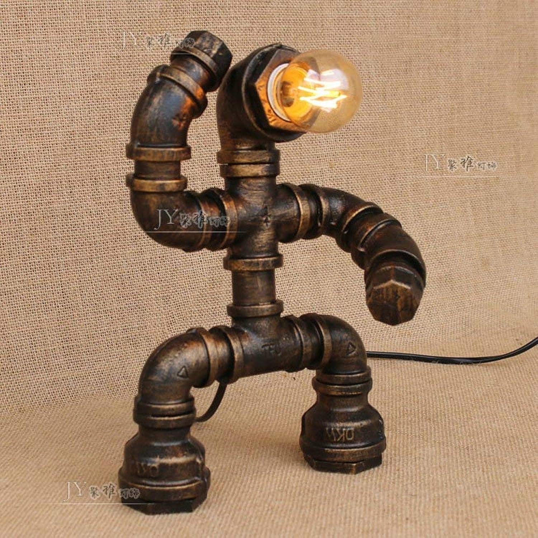 BMY Steampunk Eisen Desktop Light Wasserpfeifen Craft Robot Tischlampen Retro Energiesparende Schreibtischlampe Dekoration Bar Restaurant Cafe Loft Schreibtisch Licht E27 Schnittstelle AC 110-240V Hi