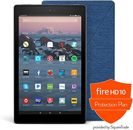 Fire HD 10 Protection Bundle with Fire HD 10 Tablet (32 GB, Black), Amazon Cover (Marine Blue) and Protection Plan (1-Year)