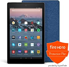 Fire HD 10 Protection Bundle with Fire HD 10 Tablet (32 GB, Black, Previous Generation - 7th), Amazon Cover (Marine Blue) and Protection Plan (1-Year)