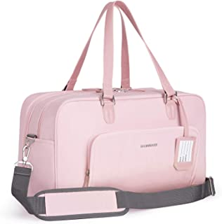 bagsmart Damen Weekender Reisetasche Handgepäck Tasche Sporttasche mit Schuhbeutel, 15,6 Zoll Laptopfach für Urlaub, Arbeit, Sport, 27 Liter, Rosa