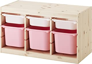 【IKEA/イケア】TROFAST 収納コンビネーション, パイン材 ホワイト, ピンク