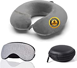 Trajectory 3 in 1 Travel Accessories Combo: Supercomfy Travel Grey Neck Pillow, Sleeping Eye Mask and Black Zipper Case fo...