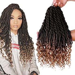 6Packs Lot Wavy Faux Locs Braids 20Inch Ombre Faux Locs Crochet Hair with  Curly Ends 2ac9cca622