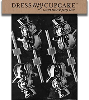 Dress My Cupcake DMCC086 Chocolate Candy Mold, Snowman Lollipop, Christmas