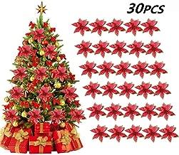lulalula 6 Pcs Large Glitter Poinsettia Christmas Tree Ornament Gold Poinsettia Bouquet Stem Bush Xmas Faux Glitter Poinsettia Picks for Craft DIY for Wedding Xmas Tree Wreaths Decor Ornament