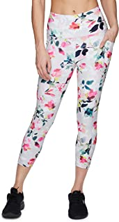 RBX Active Women's Athletic Fashion Peached Ultra Soft High Waist Squat Proof Printed Capri Legging with Pockets