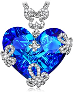 LADY COLOUR Gifts for Mom Marry in Blue Butterfly Heart Necklace with Swarovski Crystal, Hypoallergenic Jewelry Box Packing