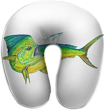 XOMAO Travel Pillow Mahi-Mahi Fish Printed Neck Pillow Memory Foam Head Neck Support Pillow Adjustable Airplane Car Flight Pi