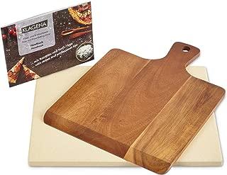 KLAGENA AS-626 Juego de Piedra para Pizza para Horno y Parrilla, Incl. Piedra para Pizza y Pala para Pizza en Madera de Acacia, Juego de Ladrillos de Pan de cordierita 38x30x1.5 cm