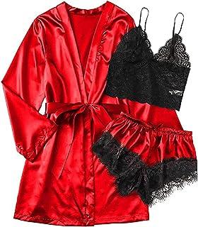 Vest Red Details about  /Lady Sleepwear Pajamas Set Faux Silk Satin Nightwear Robe Gown Shorts