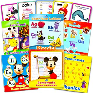 Disney Educational Disney Learning Phonics Box Set -- 4 Learn to Read Books, 2 Writing Activity Books, 24 Jumbo Flash Cards Toys