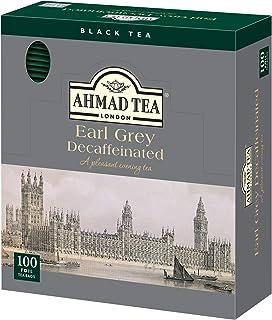 Ahmad Tea - Earl Grey Decaffeinated | Entkoffeinierter Schwarztee mit Bergamottenaroma | 100 Teebeutel à 2 g mit Band und aromaversiegelt in Folie verpackt