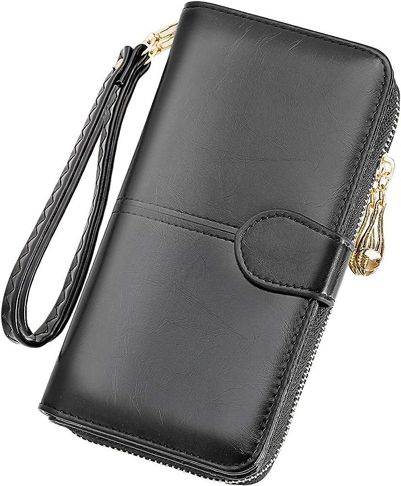 Y yongyuan portafoglio porta carte di credito per donna in ecopelle classico Nero3