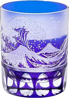 江戸切子 波富士に矢来紋 オールドグラス(ルリ)TB15-205B 木箱入り 太武朗工房直販 日本製