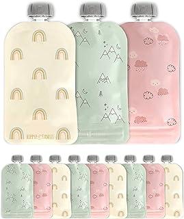 أكياس طعام للأطفال قابلة لإعادة الاستخدام من Hippypotamus - 12 عبوة - تخزين أغذية الأطفال - أكياس للأطفال الصغار - حقيبة ض...