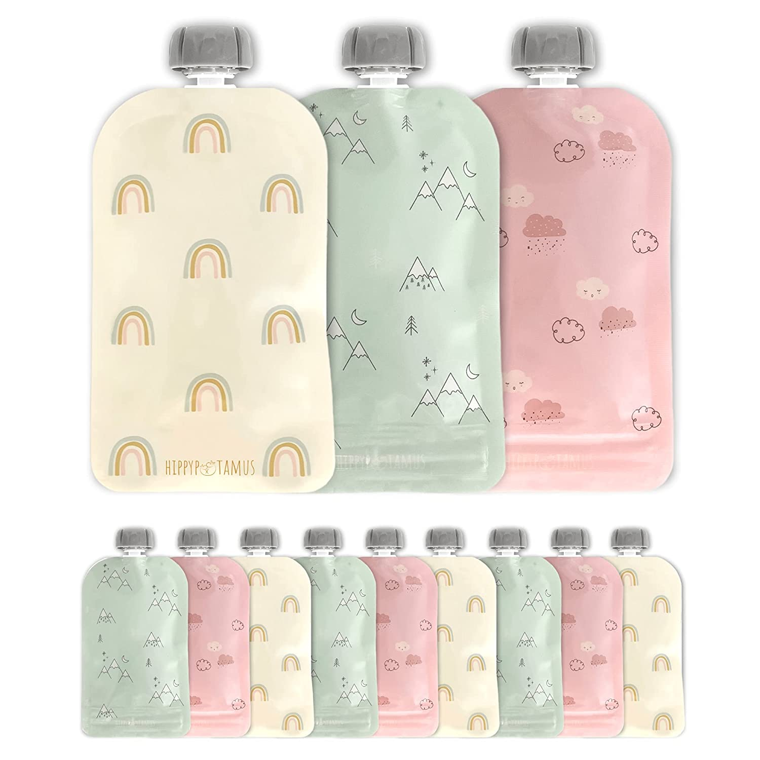 Hippypotamus Reusable Baby Food Pouches - 12 Pack - Baby Food Storage - Pouches Toddler - Refillable Squeeze Pouch for Kids (Rainbow/Mountain/Cloud)