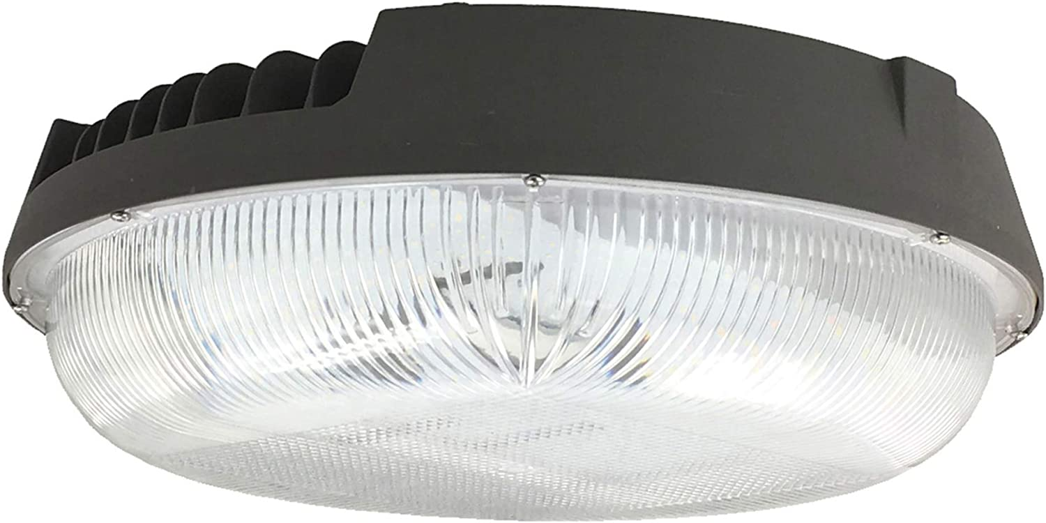 Zip-LED Canopy Light in Bronze and Clear, 11.4  Diameter, 50W 5000K Daylight White 5,995 Lumen, Non-Dimmable, Wet Location IP65