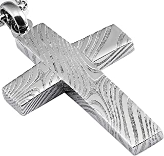 Metal Masters Co. Damascus Steel Cross Pendant Necklace Free 24 Round Box Chain