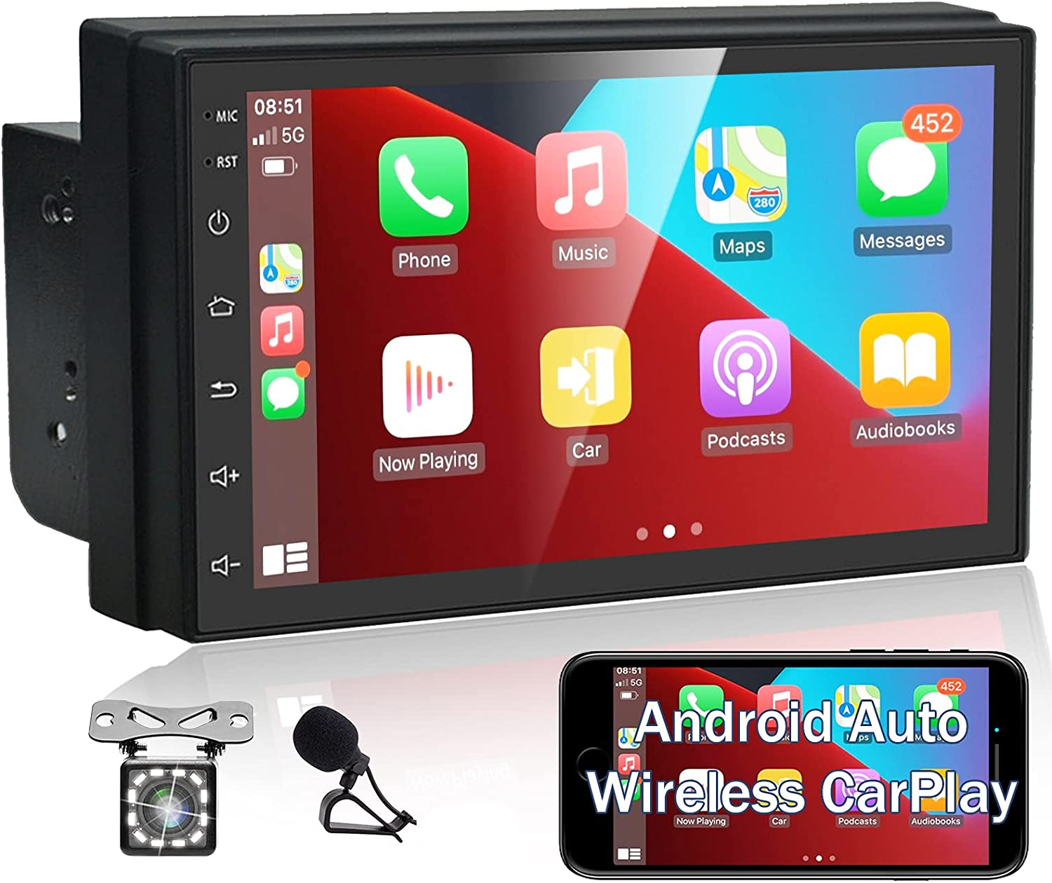 Android Double Din Car Stereo with Bluetooth- Wireless Apple Carplay & Android Auto, 7 Inch Touchscreen Car Radio Receiver with Backup Camera & Mic, Bluetooth, WiFi, FM, GPS Navigation