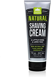 Pacific Shaving Company Natural Shave Cream - with Safe, Natural, and Plant-Derived Ingredients for a Smooth Shave, Healthy, Hydrated, Softer Skin, Less Irritation, Cruelty-Free, Made in USA, 7 oz