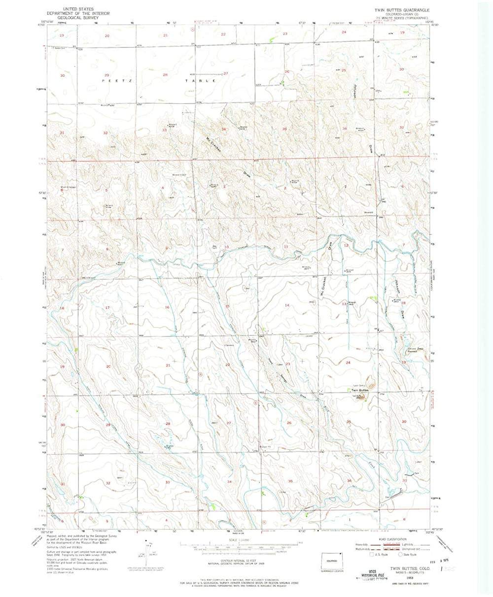 YellowMaps Twin Buttes CO topo map, 1:24000 Scale, 7.5 X 7.5 Minute, Historical, 1953, Updated 1975, 27 x 22.2 in