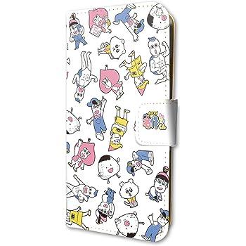 あはれ!名作くん 01 ちりばめデザイン 手帳型スマホケース iPhone6/6S/7/8兼用