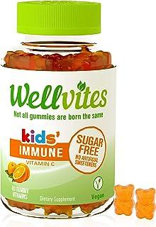 Wellvites Kids Immune Daily Sugar Free, Vegan Gummy Vitamin: Vitamin C - Sweetener Free, Gluten Free, Gelatin Free and Non...