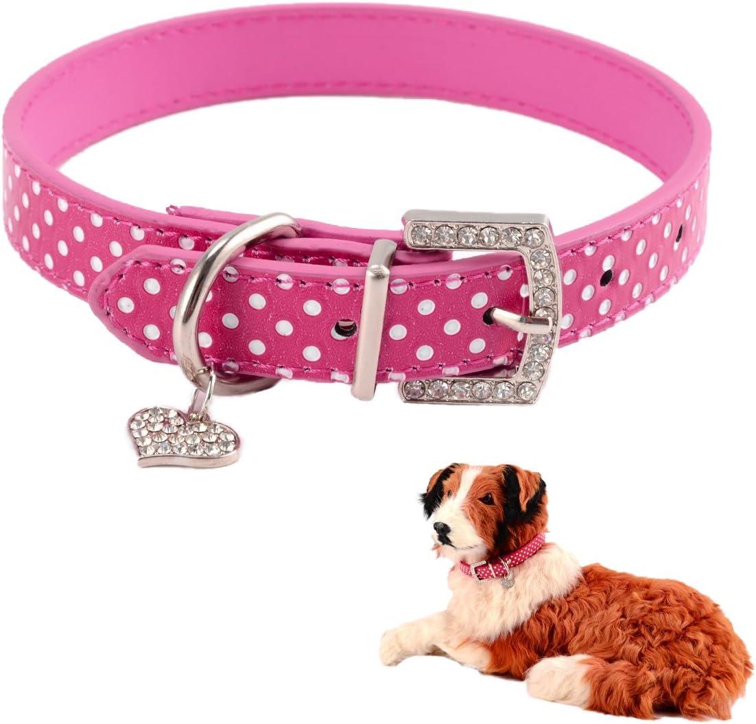 Mummumi Small Dog Collar Cat Leather 2021 Regular dealer spring and summer new Dots Adjustable PU