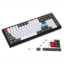 YMDK 96 84 ANSI ISO Keyset OEM Profile Thick PBT Keycap Set for Cherry MX Mechanical Keyboard YMD96 RS96 KBD75 YMD75 FC980M (White Gray Red)(Only Keycap)