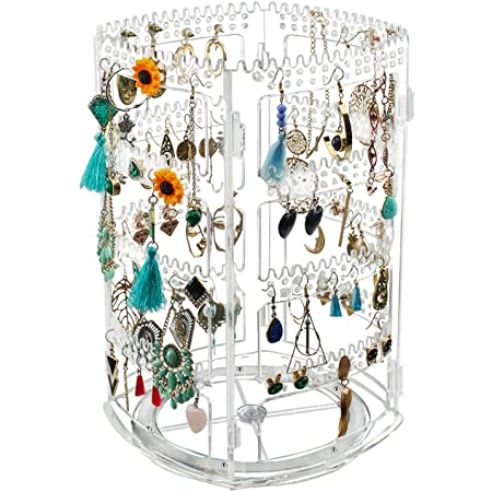 Tasybox 360 Rotating Earring Holder Stand Clear Earrings Organizer, Acrylic Jewelry Storage Display Rack for Earrings Bracelets Necklaces, 400 Holes and 192 Grooves