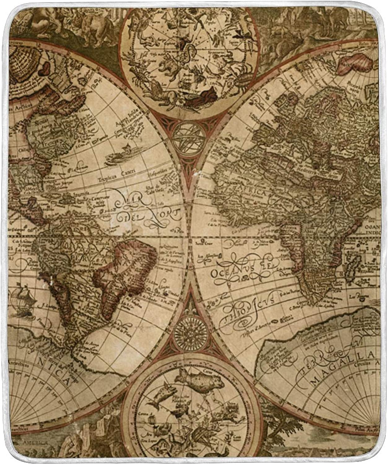 VIMMUCIR Home Decor Old World Map Blanket Soft Warm Throw Blankets for Bed Sofa Lightweight Travelling Camping 50 x 60 Inch for Kids Adults