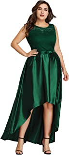 Women's Plus Size Floral Lace Patchwork High Low Cocktail Party Dress 7702