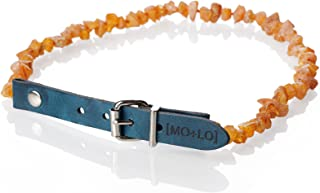 Mo + Lo Naturals Natural Raw Baltic Amber Collar - for Dogs and Cats - Nautical Blue - 100% Authentic,